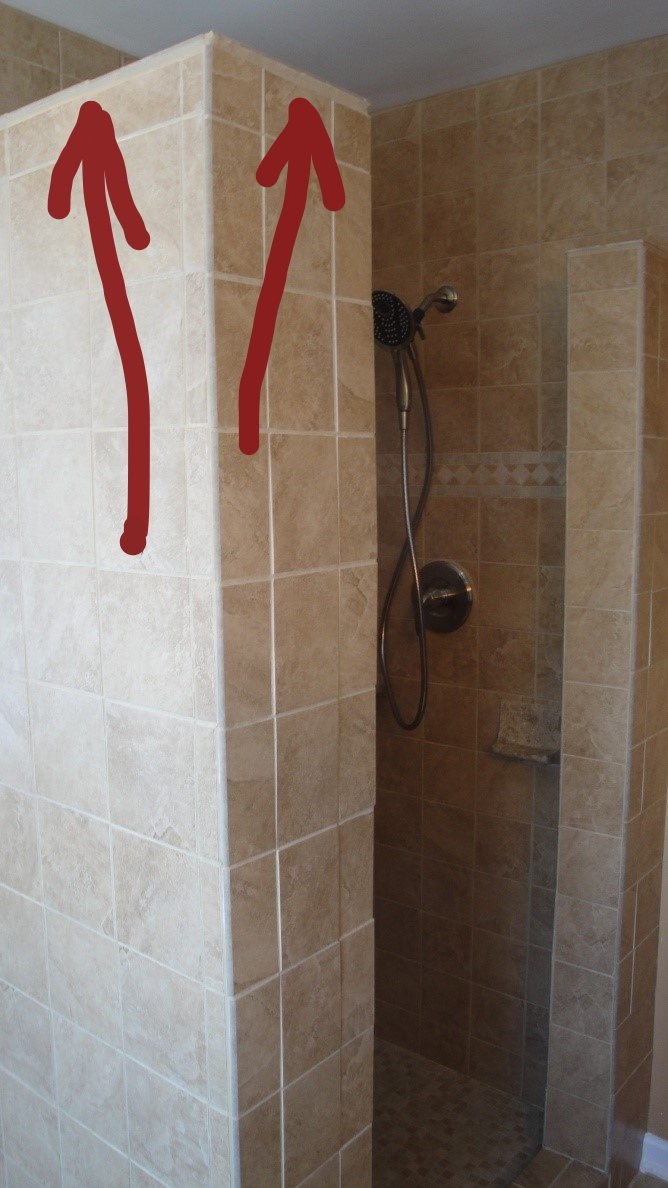 How not to install tile on floors walls and in showers notice the excessive grout joint that this tile placer at the top of the dailygadgetfo Image collections