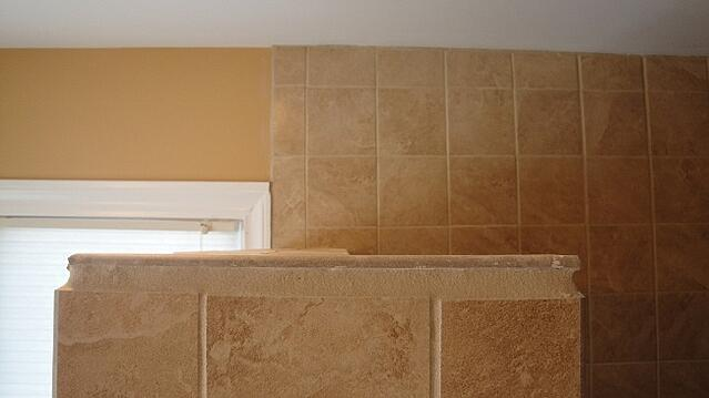 Horror tile installation: use grout instead of tile for a ledge