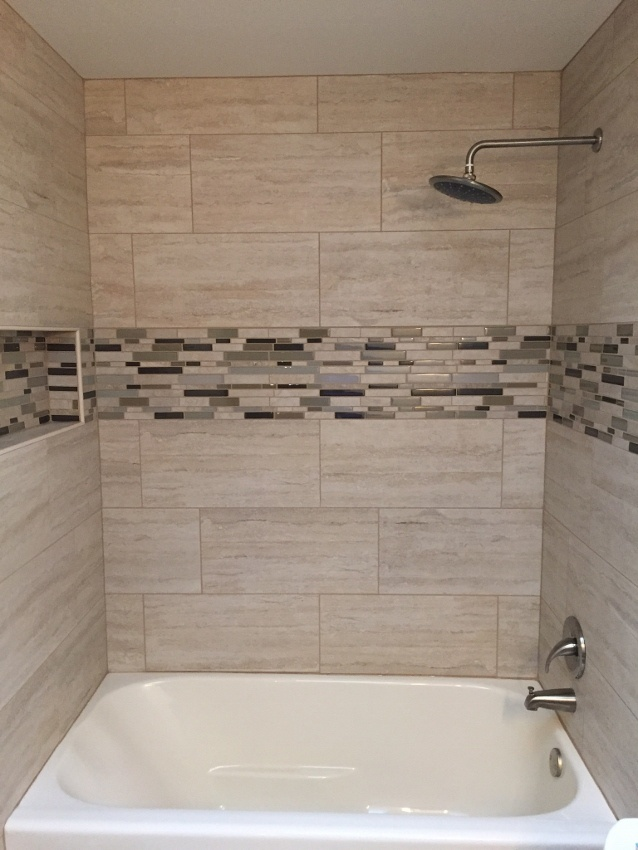 12x24 porcelain hall bath installation