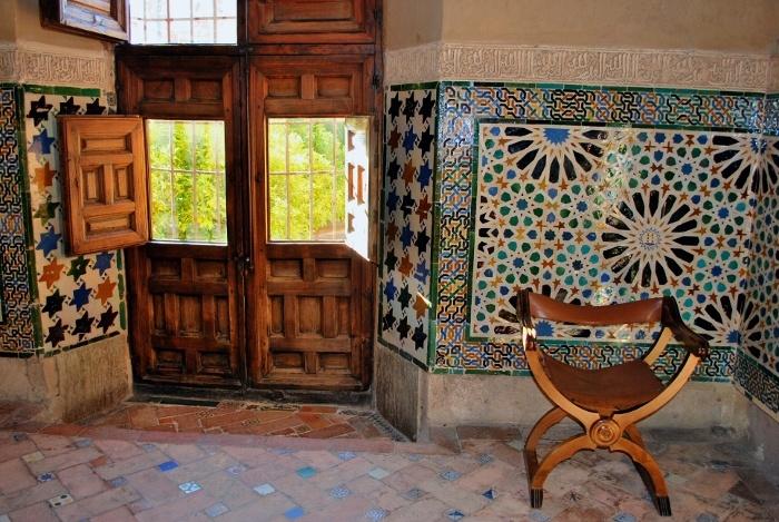 Small format tile in the Alhambra in Granada, Spain.