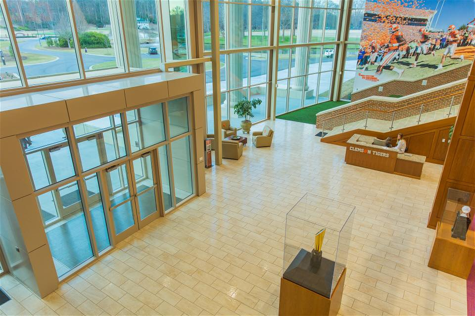 Clemson Football Operations Complex encompasses 30,000 sq ft of tile, along with 4,000 sq ft of thin brick.