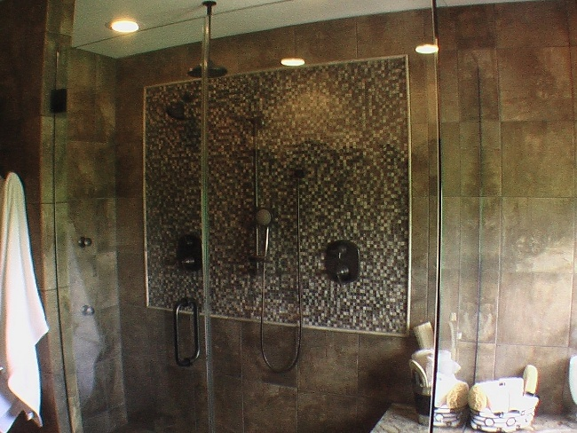 Full bath remodel tile installation