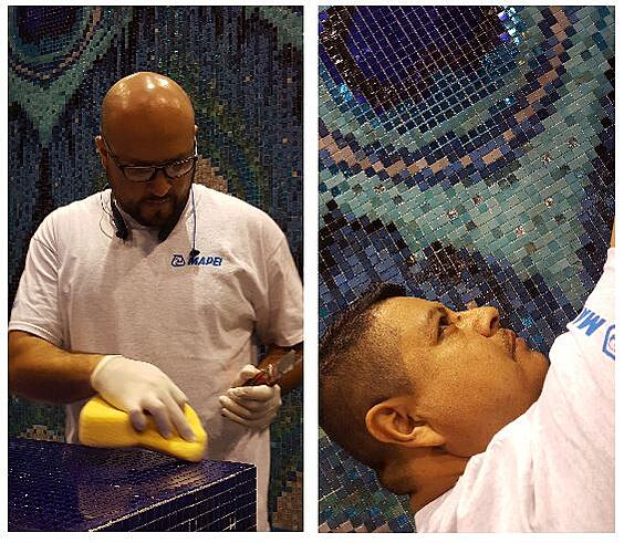 """Artcraft's Christian Lopez and Jose E. """"Milli"""" Gonzalez, two of the team's CTEF certified installers, focus on glass tile mosaic detail work"""