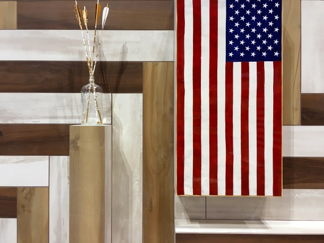 Digitally-printed porcelain American flags proudly add spirit and another layer of iconic pattern
