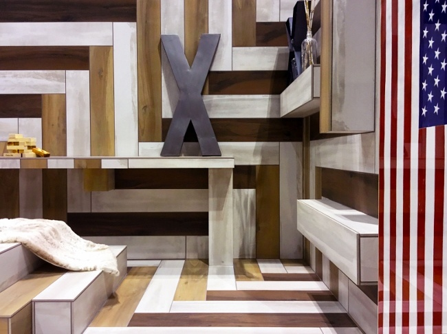 X marks the spot at the wood plankt tiled Hotel X Lobby