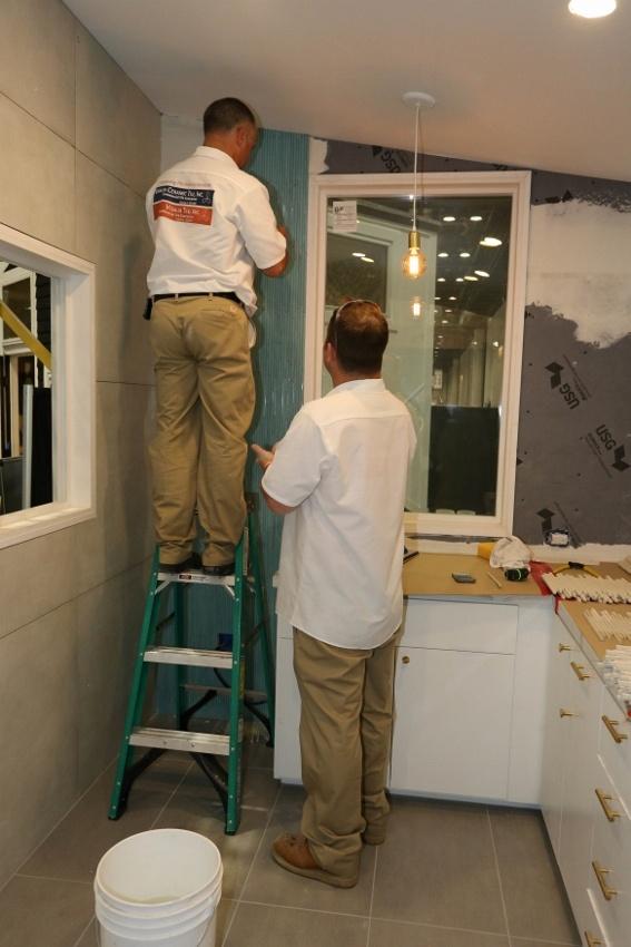 Visalia Ceramic Tile experts installing tile in the Retro Bungalow Tiny Home Kitchen