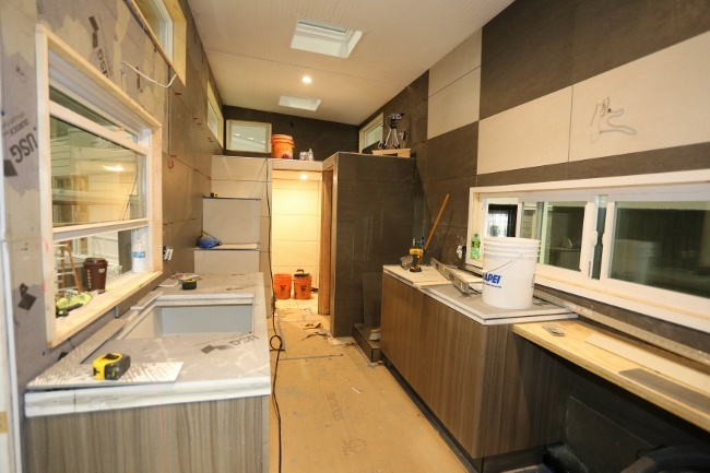 Inside the tiled tiny house