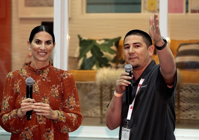 Sam Bruce, Visalia Ceramic Tile, and Alena Capra, Coverings Brand Ambassador