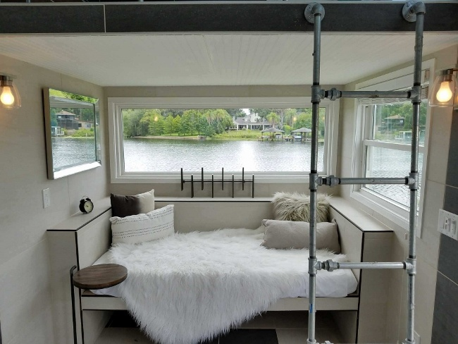 West Michigan tiny house view of the living space built-ins