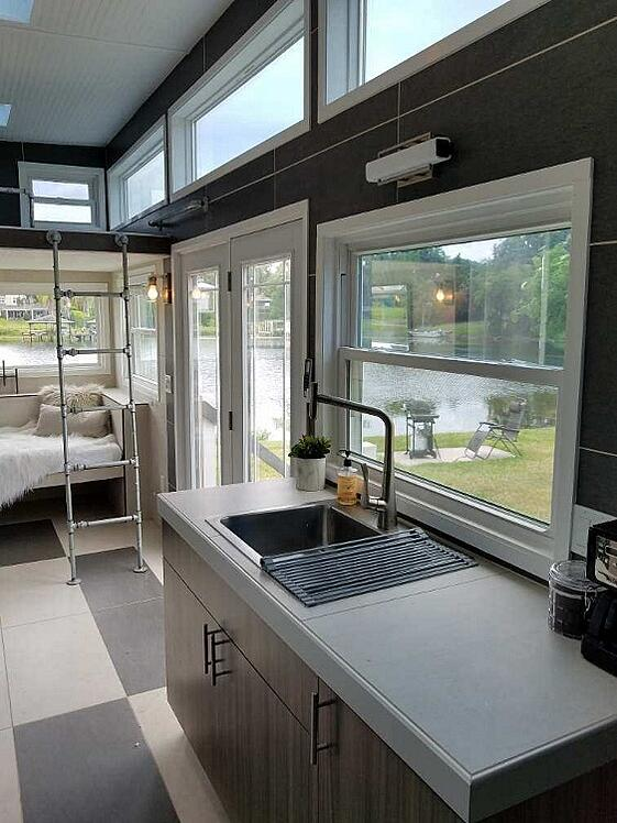 West Michigan tiled tiny house kitchen countertop