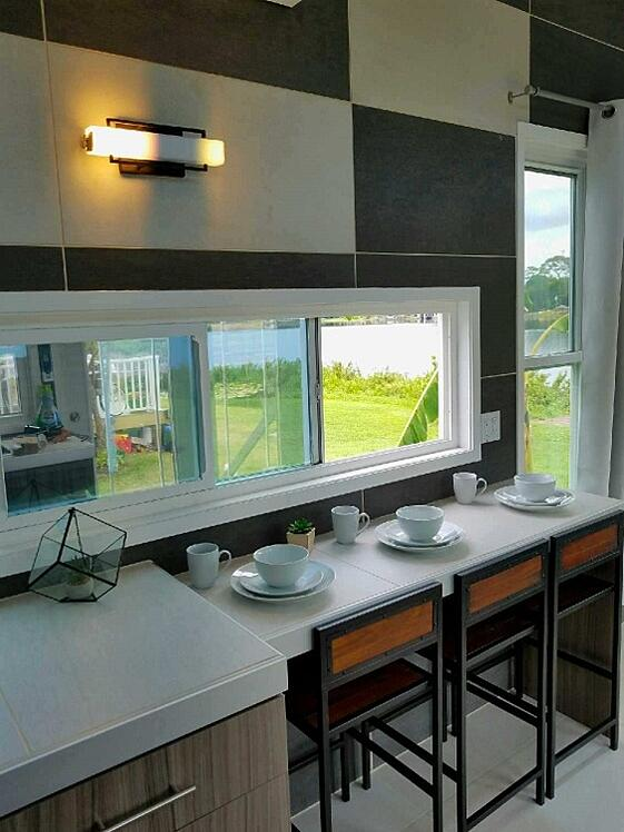 West Michigan tiny house tiled eating area