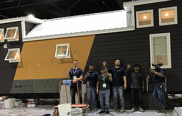 The J&R Tile installation team at Coverings 2018