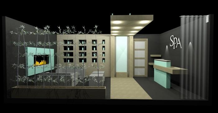 "We decided to design an urban chic ""Spa Lobby"" vignette utilizing Biophilic Design."