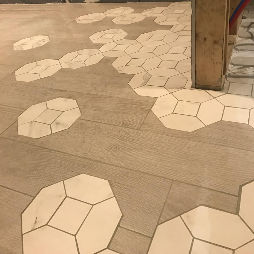 From Octagon to Wood Plank Tile Floor in the Vitruvian tiny house