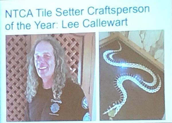 Lee Callewart CTI #1454 of Dragonfly Tile and Stoneworks, the first ever NTCA Tile Setter Craftsperson of the Year