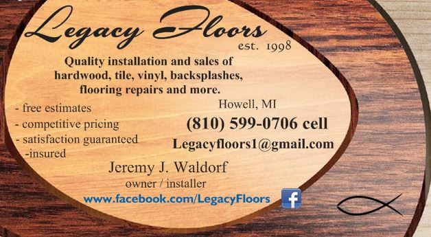 Legacy Floors in Michigan. Certified Tile Installer (CTI #1185)