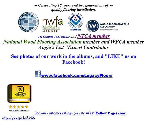 Legacy Floors Promotes Qualified Tile Installation on Emails