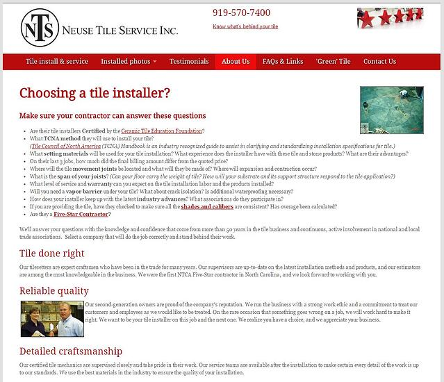 The neusetile.com about us page highlights the importance of working with Certified Tile Installers.