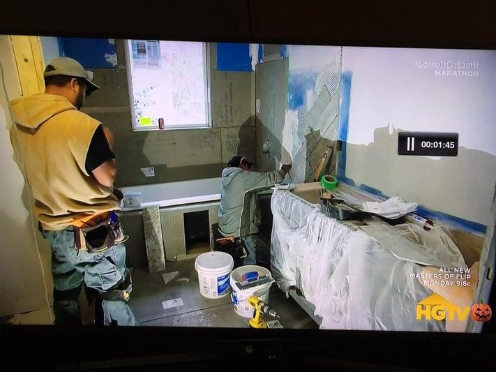 Waterproofing tile shower in action on HGTV