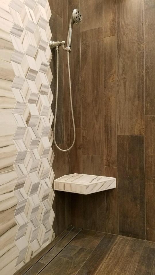 Stoneman Construction shower installation with linear drain