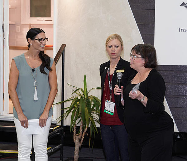 Coverings Ambassador Alena Capra with Erin Albrecht, J&R Tile, and Rita Carson Guest, Carson Guest Design