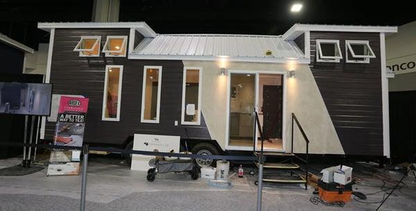 J&R Tile Installs Gauged Porcelain Tile in Coverings 2018 Tiny House