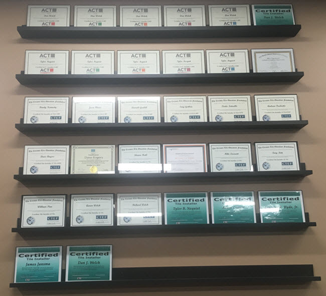 Promote your tile certifications by showing them off on a wall as Welch Tile does.